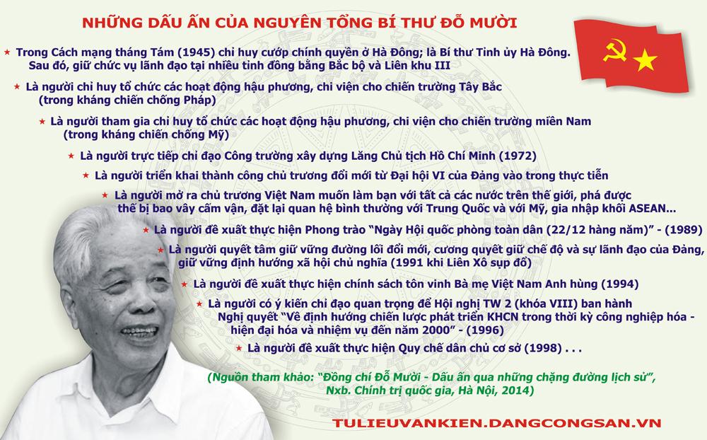[Infographic] Những dấu ấn của Nguyên Tổng Bí thư Đỗ Mười
